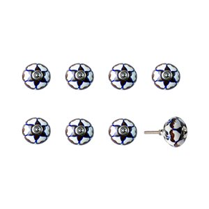 Natural by Lifestyle Brands Handpainted Cream/Brown/Blue Ceramic Knobs (8 Pack)