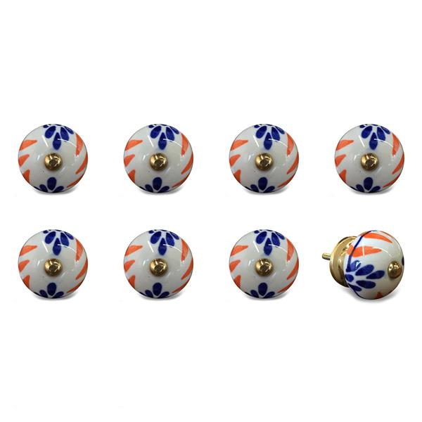 Natural by Lifestyle Brands Handpainted White/Blue/Orange Ceramic Knobs (8-Pack)