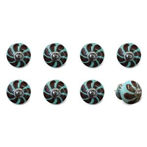 Natural by Lifestyle Brands Handpainted Teal/Brown/Black Ceramic Knobs (8 Pack)