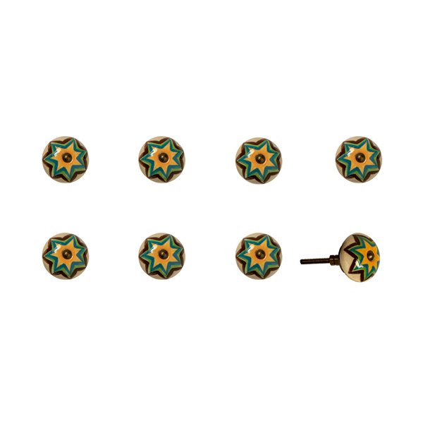 Natural by Lifestyle Brands Handpainted Green/Orange/Blue Ceramic Knobs (8 Pack)