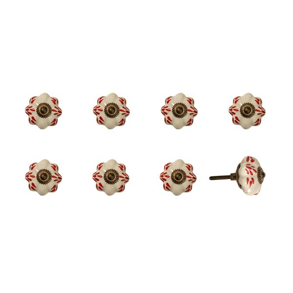 Natural by Lifestyle Brands Handpainted White/Burgundy/Copper Ceramic Knobs (8-Pack)