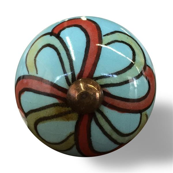 Natural by Lifestyle Brands Handpainted Turquoise/Red/Green Ceramic Knobs (8-Pack)