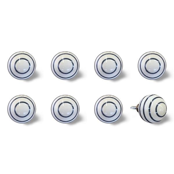 Natural by Lifestyle Brands Handpainted White/Navy Ceramic Knobs (8-Pack)
