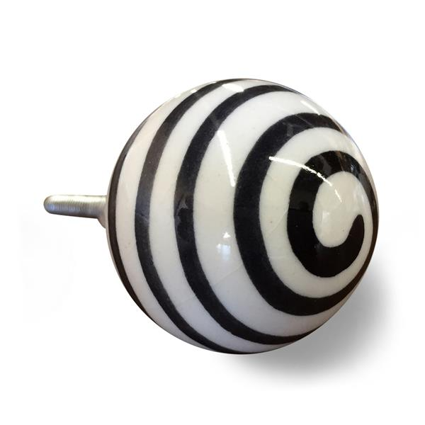 Natural by Lifestyle Brands Handpainted White/Black Ceramic Knobs (8-Pack)