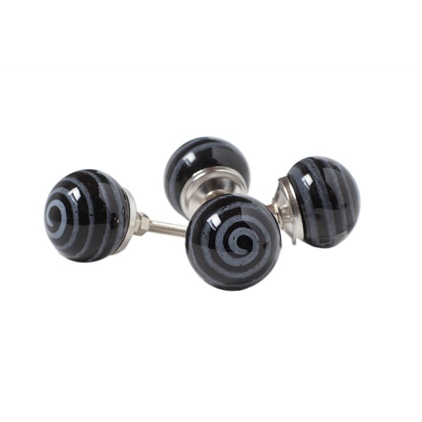 Natural by Lifestyle Brands Handpainted Black/Light Blue Ceramic Knobs (8 Pack)