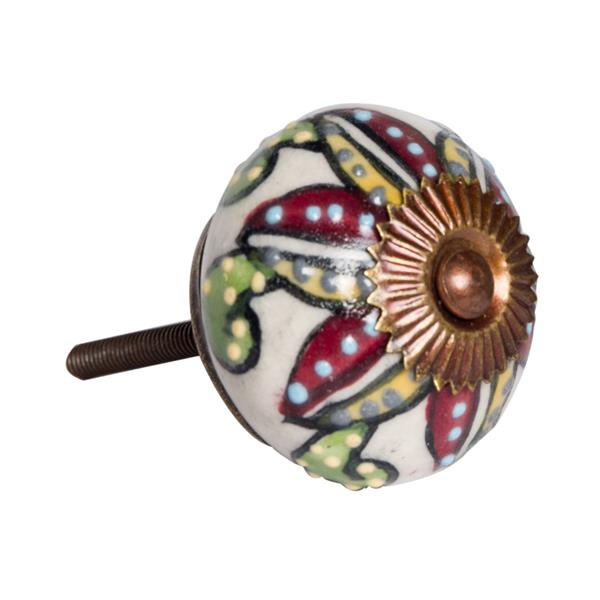 Natural by Lifestyle Brands Handpainted Cream/Burgundy/Yellow Ceramic Knobs (8 Pack)