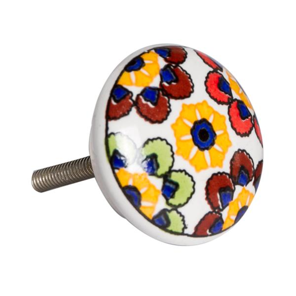 Natural by Lifestyle Brands Handpainted Yellow/Blue/Red Ceramic Knobs (8-Pack)