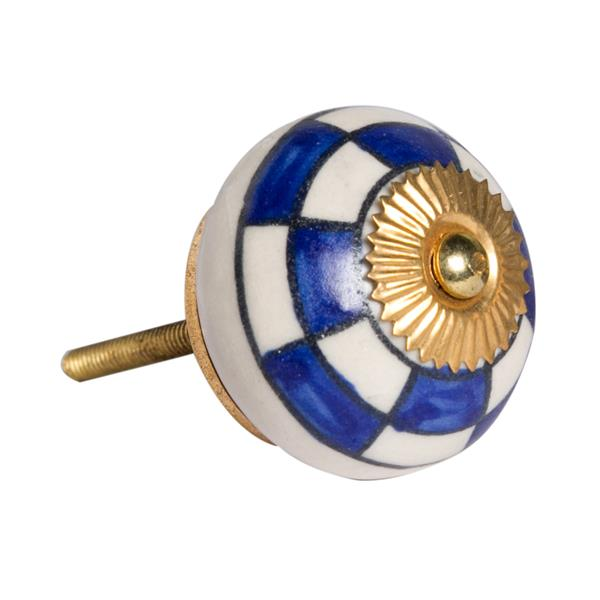 Natural by Lifestyle Brands Handpainted White/Blue/Gold Ceramic Knobs (8-Pack)