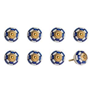 Poignées peinte à la main en céramique, 8 pqt, blanc/bleu/or