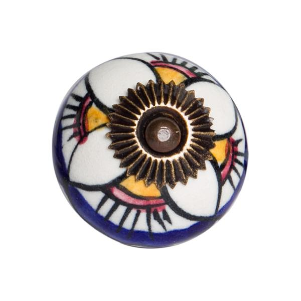 Natural by Lifestyle Brands Handpainted White/Blue/Yellow Ceramic Knobs (8-Pack)