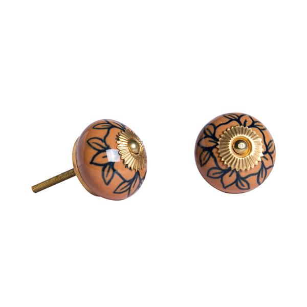 Natural by Lifestyle Brands Handpainted Orange/Blue/Gold Ceramic Knobs (8 Pack)