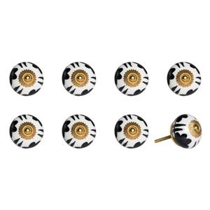 Natural by Lifestyle Brands Handpainted White/Black/Gold Ceramic Knobs (8-Pack)