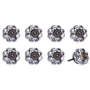Natural by Lifestyle Brands Handpainted White/Navy/Copper Ceramic Knobs (8-Pack)