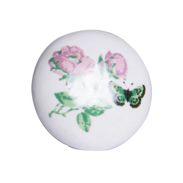 Natural by Lifestyle Brands Handpainted White/Pink/Green Ceramic Knobs (8-Pack)