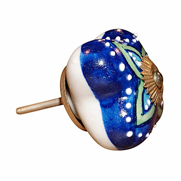 Natural by Lifestyle Brands Handpainted Blue/Green/Turquoise Ceramic Knobs (8 Pack)