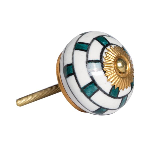 Natural by Lifestyle Brands Handpainted White/Teal/Gold Ceramic Knobs (8-Pack)