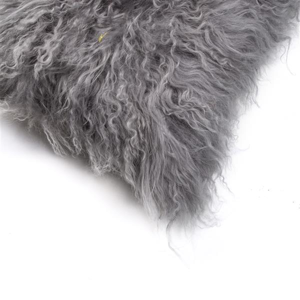 Natural by Lifestyle Brands Mongolian Gray 12-in x 20-in Sheepskin Pillow