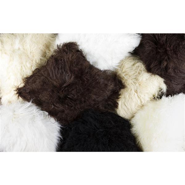 """Coussin en mouton Mongolien, 12""""x20"""", naturel"""