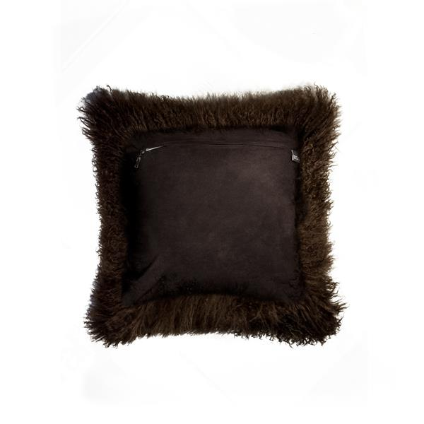 Natural by Lifestyle Brands Mongolian Chocolate 18-in x 18-in Sheepskin Pillow