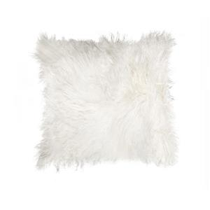 Natural by Lifestyle Brands Mongolian White 18-in x 18-in Sheepskin Pillow