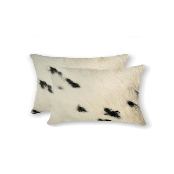 Natural by Lifestyle Brands 12-in x 20-in White and Black Kobe Cowhide Pillow (2 Pack)