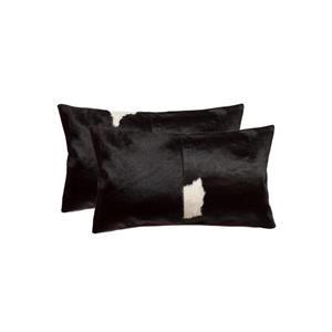 """Coussins en peau de vache Kobe, 12""""x20"""", noir/blanc, 2 pqt"""