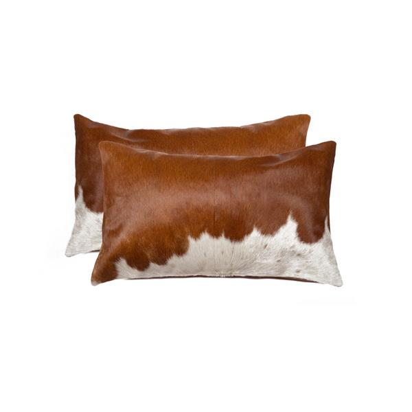 Natural by Lifestyle Brands 12-in x 20-in Brown and White Kobe Cowhide Pillow (2 Pack)