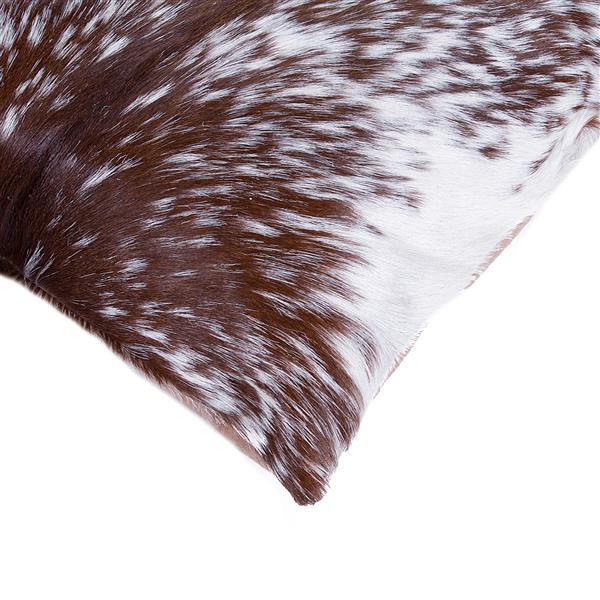 "Coussins en peau de vache Kobe, 18""x18"", brun/blanc, 2 pqt"
