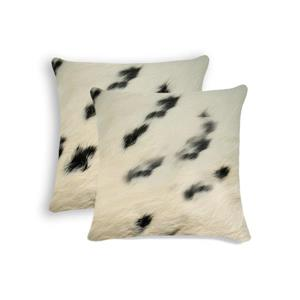 Natural by Lifestyle Brands 18-in White and Black Kobe Cowhide Pillow (2 Pack)