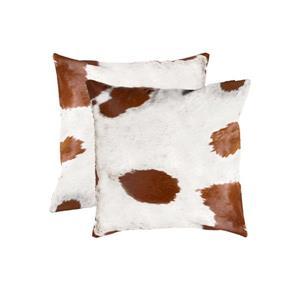 "Coussins en peau de vache Kobe, 18""x18"", blanc/brun, 2 pqt"