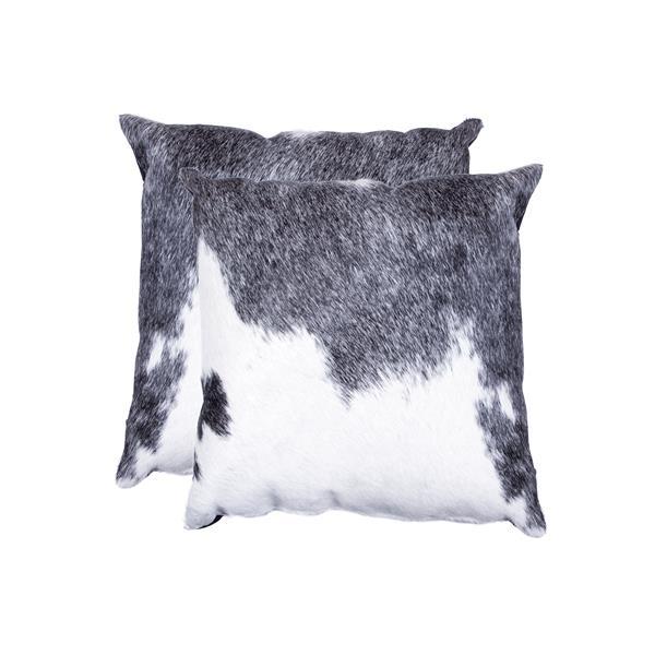 """Coussins en peau de vache Kobe, 18""""x18"""", gris/blanc, 2 pqt"""