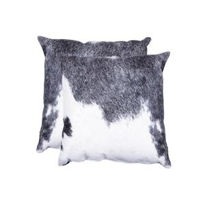 Natural by Lifestyle Brands 18-in Gray and White Kobe Cowhide Pillow (2 Pack)