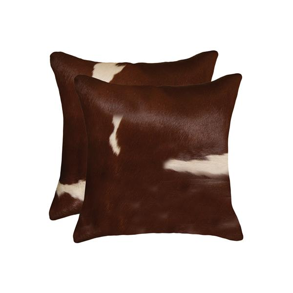 "Coussins en peau de vache Kobe, 18""x18"" brun/blanc, 2 pqt"