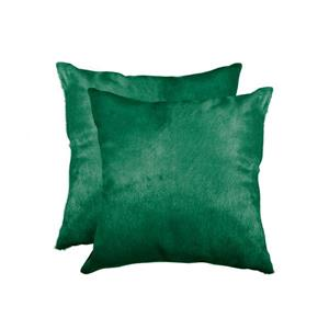Natural by Lifestyle Brands 18-in Green Torino Cowhide Pillow (2 Pack)