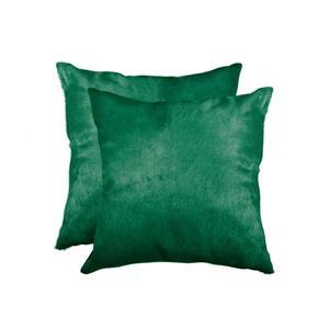 "Coussins en peau de vache Torino, 18""x18"", vert, 2 pqt"