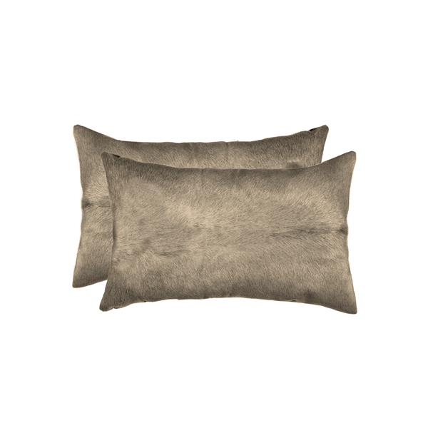 Natural by Lifestyle Brands 12-in x 20-in Taupe Torino Cowhide Pillow (2 Pack)