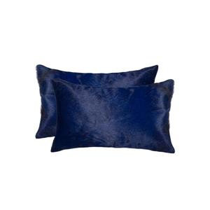 Natural by Lifestyle Brands 12-in x 20-in Navy Torino Cowhide Pillow (2 Pack)