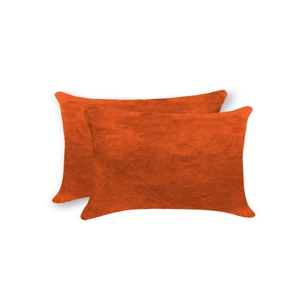 """Coussins en peau de vache Torino, 12""""x20"""", orange, 2 pqt"""