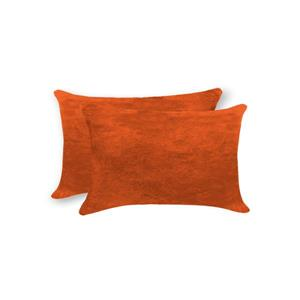 Natural by Lifestyle Brands 12-in x 20-in Orange Torino Cowhide Pillow (2 Pack)
