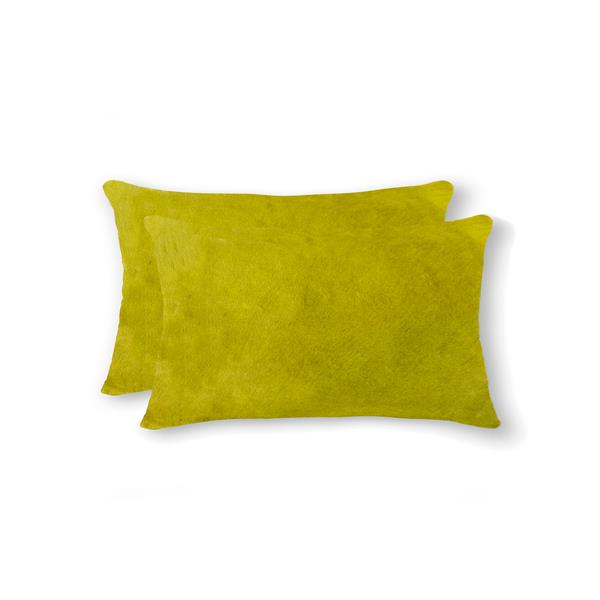 Natural by Lifestyle Brands 12-in x 20-in Yellow Torino Cowhide Pillow (2 Pack)