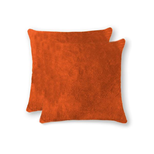 Natural by Lifestyle Brands 18-in Orange Torino Cowhide Pillow (2 Pack)