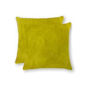 """Coussins en peau de vache Torino, 18""""x18"""", jaune, 2 pqt"""