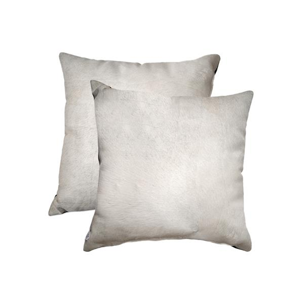 Natural by Lifestyle Brands 18-in Off- White Torino Cowhide Pillow (2 Pack)