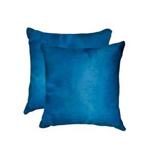 "Coussins en peau de vache Torino, 18""x18"", bleu, 2 pqt"