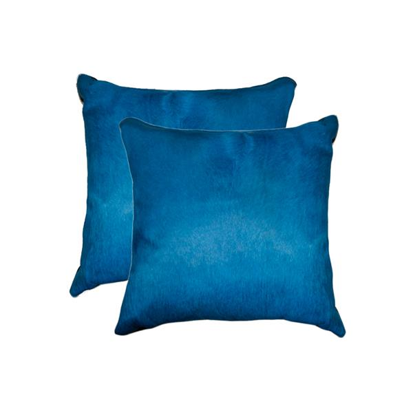 Natural by Lifestyle Brands 18-in Royal Blue Torino Cowhide Pillow (2 Pack)