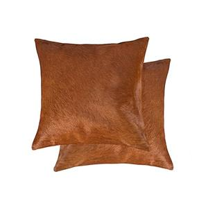 Natural by Lifestyle Brands 18-in Brown Torino Cowhide Pillow (2 Pack)