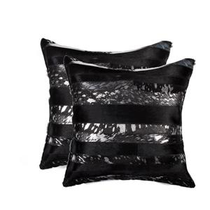 Natural by Lifestyle Brands 18-in Black and Silver Torino Cowhide Pillow (2 Pack)
