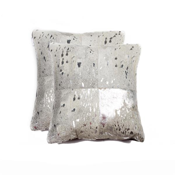 Natural by Lifestyle Brands 18-in Silver and Gray Torino Cowhide Pillow (2 Pack)