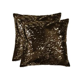 Natural by Lifestyle Brands Quattro Gold/Chocolate 18-in x 18-in Cowhide Pillows (2 Pack)