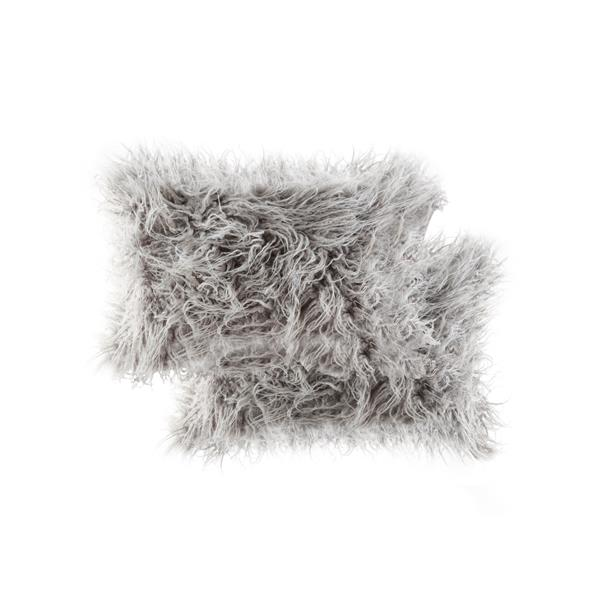 LUXE Mongolian Grey 12-in x 20-in Faux Fur Pillows (2 Pack)